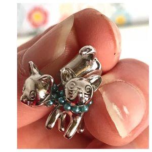 Shiny Silver Cute Cat Stud Earrings